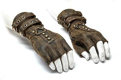 Punk Rave Men Steampunk Fingerless Gloves Military Gothic Rock motocycle brown