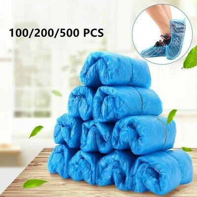 500 Disposable Shoe Cover Overshoes Blue Anti Slip Plastic Cleaning Boot Safety