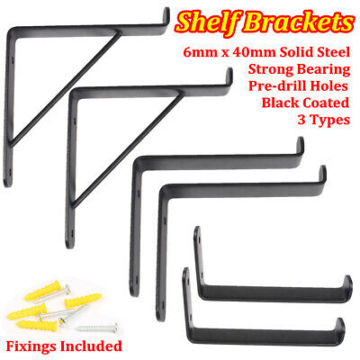 Pair of Rustic Scaffold Board Steel Shelf Brackets Industrial Heavy Duty 225mm