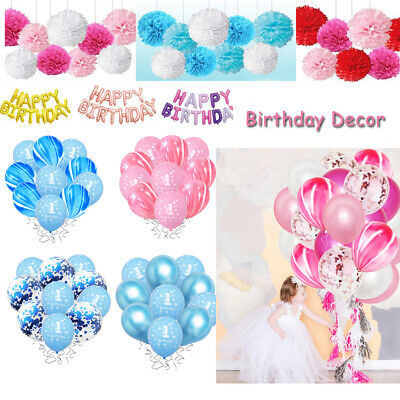 Boy Girl First 1st Birthday Confetti Balloons Pompoms Banners Party Decoration