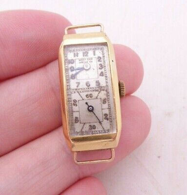 18ct gold double dial West end watch company wristwatch rare art deco