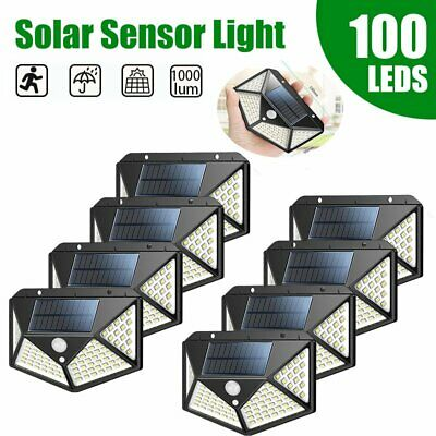 100 LED Solar PIR Motion Sensor Wall Light Outdoor Waterproof Garden Yard Lamp