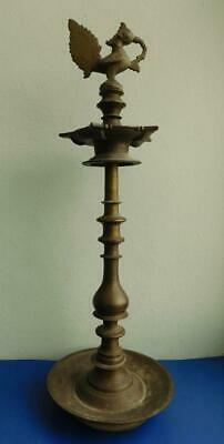 Large Brass Kuthu Vilakku Huge Indian Temple Lamp 55.5cm Deepak Diya Peacock