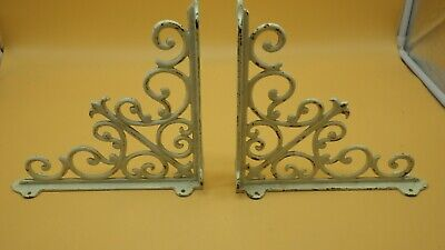"2 Vintage Matching Ornate Cast Iron White Chippie Shelf Brackets 10"" x 10"""