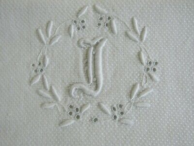 """Antique MONOGRAMMED """" I """" Guest Show Towel Padded Embroidery Huck Toweling"""