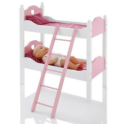 Molly Dolly Dolls Wooden Double Bunk Bed Furniture With Pillow & Blankets