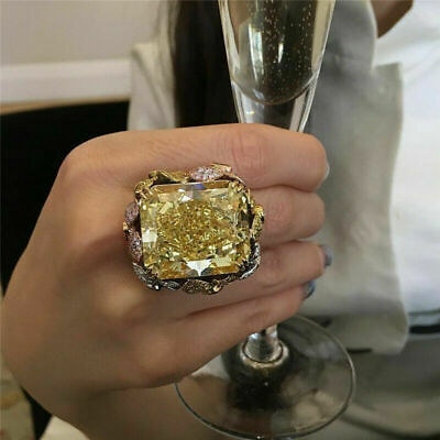 Luxury Huge Princess Cut Topaz Ring 18K Gold Plated Engagement Party Jewelry