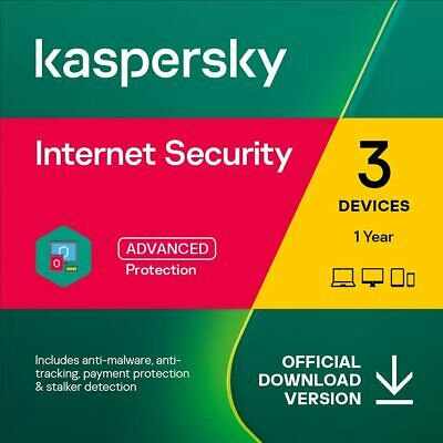 Kaspersky Internet Security 2019 2020 3 Devices 1 Year PC Mac Android Email EU