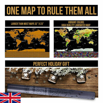 UK Deluxe Large 82x59 cm Scratch Off World Map Travel Holiday Poster Wall Paper