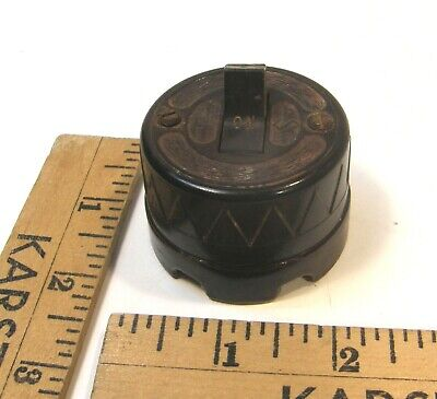 Vintage Art Deco Bakelite & Porcelain Round Toggle Electric Light Switch