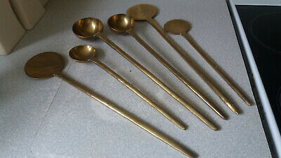 Lovely Set Antique Solid Brass Chinese  / Tibetan Cooking Ladles- Hand Made