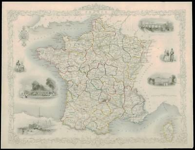 """1850 - Original Antique Illustrated Map of """"FRANCE""""  by Tallis (96d)"""