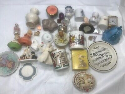 Junk Drawer Lot Of 35 Vintage And Unique Items Figurines Mugs Rockwell Wedgwood