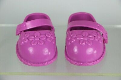 """Large 3 ½"""" Pink / Purple Snap Buckle Plastic Doll Shoes Flower on Bottom"""