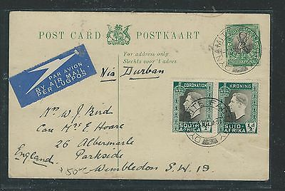 South Africa  (Pp0312B) 1937 1/2D Antelope Psc+1/2D Coronation Pr To England