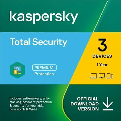 New Kaspersky Total Security 2019 3 Devices 1 Year PC Mac Android Email Key EU