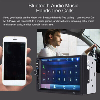 *Bluetooth* 7 Car Stereo Radio 2 DIN MP5~Player Touch Screen U-Disk+8LED Camera