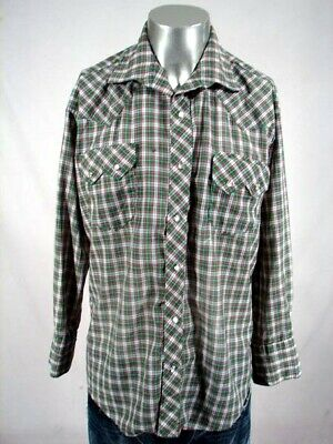 HI1141 VINTAGE 1970s 4-COLOR PLAID SAWTOOTH POCKETS PEARLSNAP WESTERN SHIRT - 48