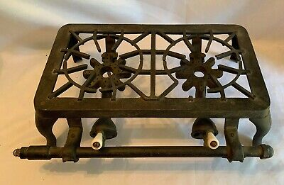 Antique Cast Iron 2 Burner Table Top Camp Stove SB2 Star Burners Porcelain Knob