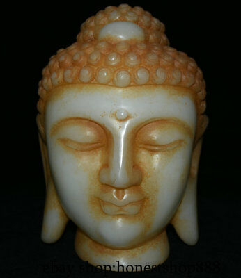 "10"" Chinese Old antique White Jade Jadeite Carved Shakyamuni Buddha Head Statue"