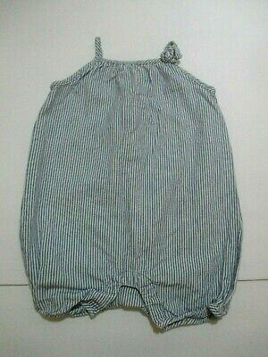 Infant Girls Baby Gap 1969 Blue Striped Bubble Romper Outfit Size 6-12 Months