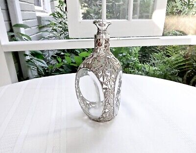 Antique Japanese Sterling 950 Silver Bamboo Leaf Overlay Pinched Glass Decanter