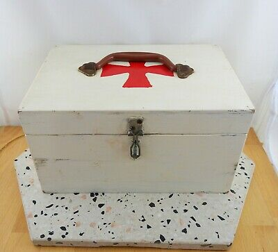 Vintage Wooden First Aid Box with Red Painted Cross
