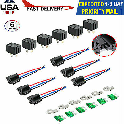 6 Pack 12V 30A Fuse Relay Switch Harness SPST 4-Pin 14 AWG Hot Wires For Cars US