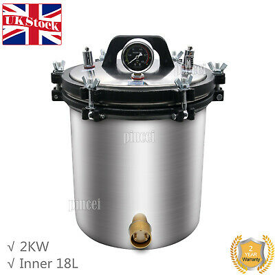 22L Pressure Steam Sterilizer Autoclave (Inner Container 18L) Anti-Burning UK