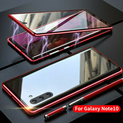 Magnetic Adsorption Metal Bumper Glass Case Cover For Samsung Galaxy Note 10/10+
