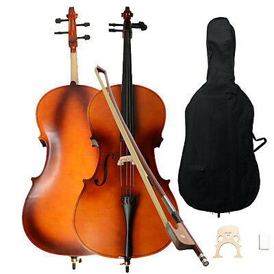 New 4/4 School Student Beginner Wood Color Basswood Cello w/Bag Bow Rosin Bridge