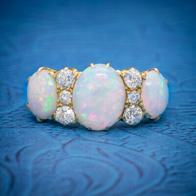 Antique Victorian Natural 5Ct Opal Trilogy Ring 18Ct Gold Circa 1880