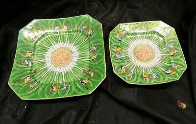 """Qing  Dynasty  Butterflys - Cabbage  Sq Plates / Old China  1800'S """""""