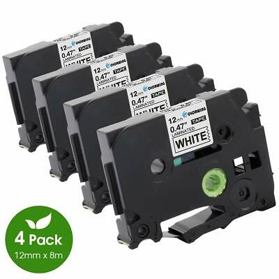 4 Pack Compatible Brother P-Touch TZe-231 TZ-231 Label Tape 12mm Black on White