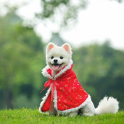 Santa Christmas Cloak Design Cute Pet Dogs Warm Coat Hooded Dog Clothes LC