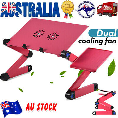 Adjustable Foldable Laptop Table Dual Fan Cooling + mouse Board Tray