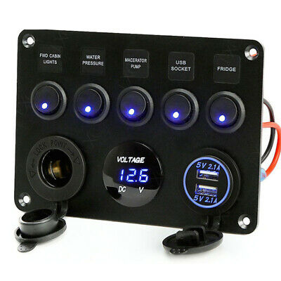 Car Boat 5 Gang ON-OFF Toggle Switch Panel 2USB 12V Fit Marine RV Truck Camper