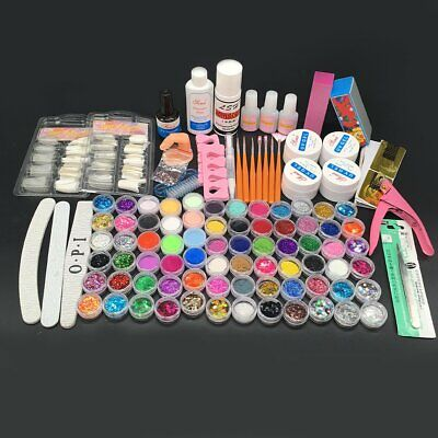72 Acrylic Powder Liquid Nail Art Care Kit UV Gel Glitter Brush Polish Shiny Tip