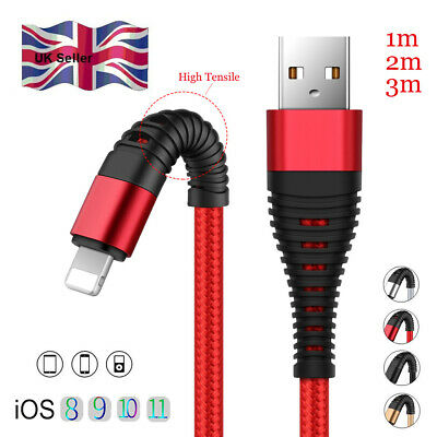 UK 1/2/3M Braided Lightning USB Fast Charger Data Cable For iPhone X 8 7 6S Plus