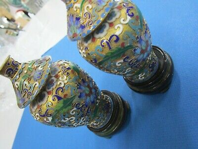 Vintage pair of Chinese Open Wire Cloisonne Vases with Lids and on Stands