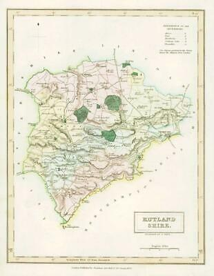 1833 Original Antique Colour Map of RUTLANDSHIRE RUTLAND by Chapman & Hall