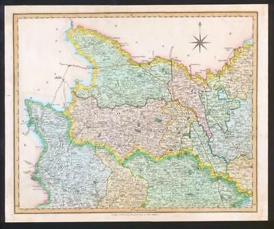 1831 - YORKSHIRE NORTH WEST RIDING Antique LARGE COLOURED Map by HENRY TEESDALE