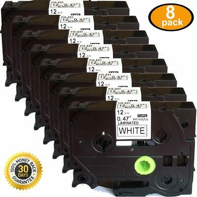 8PK Compatible for Brother P-Touch TZ231 TZe-231 Label Tape Black on White 12mm