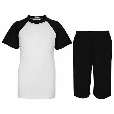 Kids Girls Boys Plain Pyjamas Black Top & Shorts Summer Outfit Nightwear Pjs Set