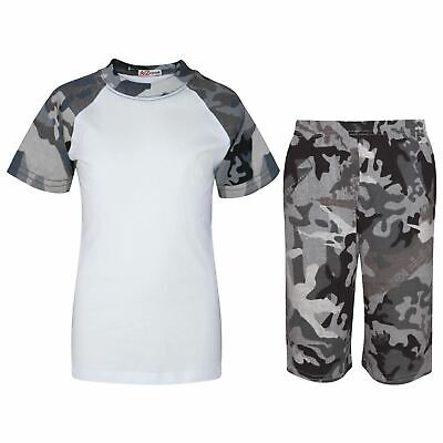 Kids Girls Boys Plain Pyjamas Camo Charcoal Top Shorts Nightwear Pjs Outfit Sets