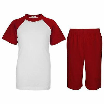 Kids Girls Boys Plain Pyjamas Red Top & Shorts Summer Outfit Nightwear Pjs Sets