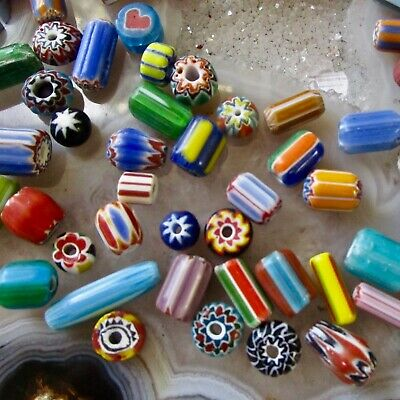 Vintage African Trade Bead Lot, 100 Beads, Chevron Venetian Glass Large Hole