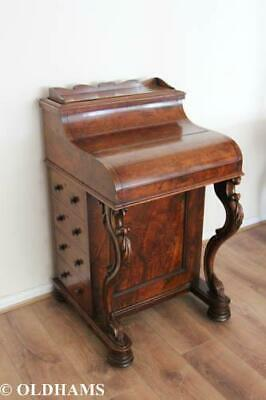 Stunning Antique Walnut Davenport - Piano Top - Pop Up Shelf - Drawers - Carved