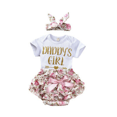 Newborn Baby Daddys Girl Romper Floral Skirts PP Pant Outfit Summer Clothes Set