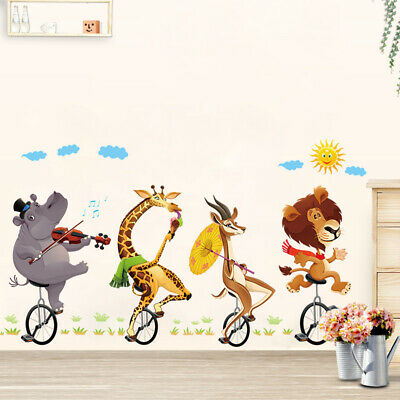 Bicycle Animals Wall Stickers Giraffe Elephant  Decals Circus troupe Art Mural